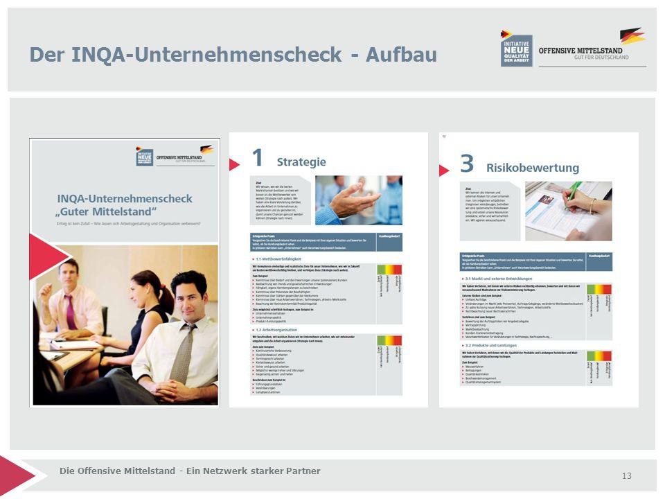 13 Die Offensive Mittelstand - Ein Netzwerk starker Partner Der INQA-Unternehmenscheck - Aufbau