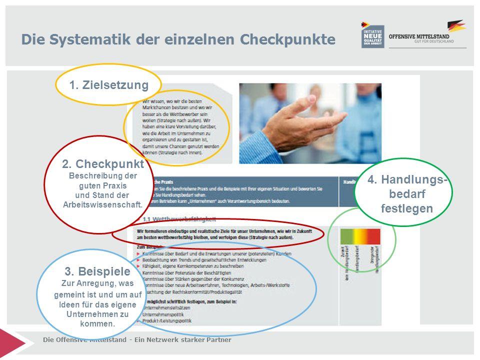 Die Offensive Mittelstand - Ein Netzwerk starker Partner Die Systematik der einzelnen Checkpunkte 2. Checkpunkt Beschreibung der guten Praxis und Stan