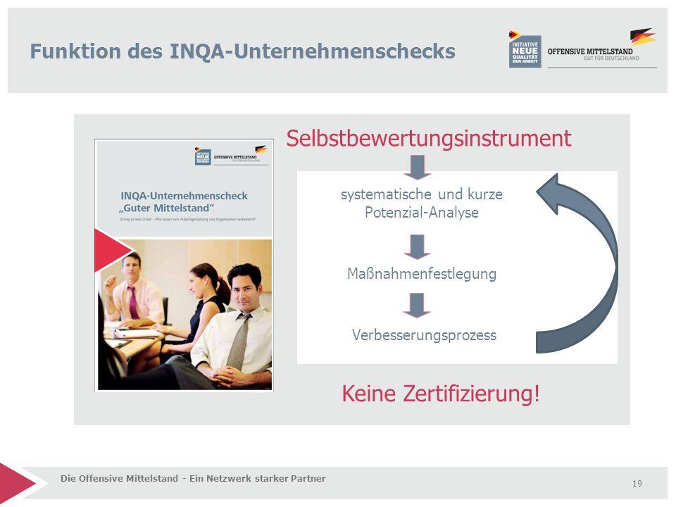 19 Funktion des INQA-Unternehmenschecks Die Offensive Mittelstand - Ein Netzwerk starker Partner Selbstbewertungsinstrument Keine Zertifizierung.