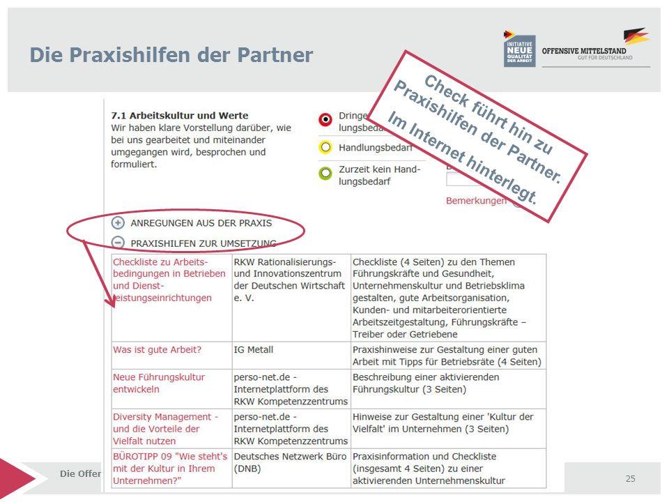 Die Offensive Mittelstand - Ein Netzwerk starker Partner 25 Check führt hin zu Praxishilfen der Partner. Im Internet hinterlegt. Die Praxishilfen der