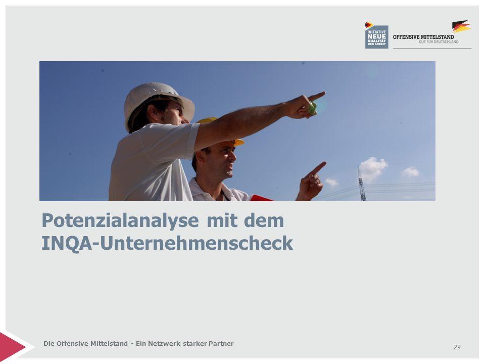 29 Die Offensive Mittelstand - Ein Netzwerk starker Partner Potenzialanalyse mit dem INQA-Unternehmenscheck