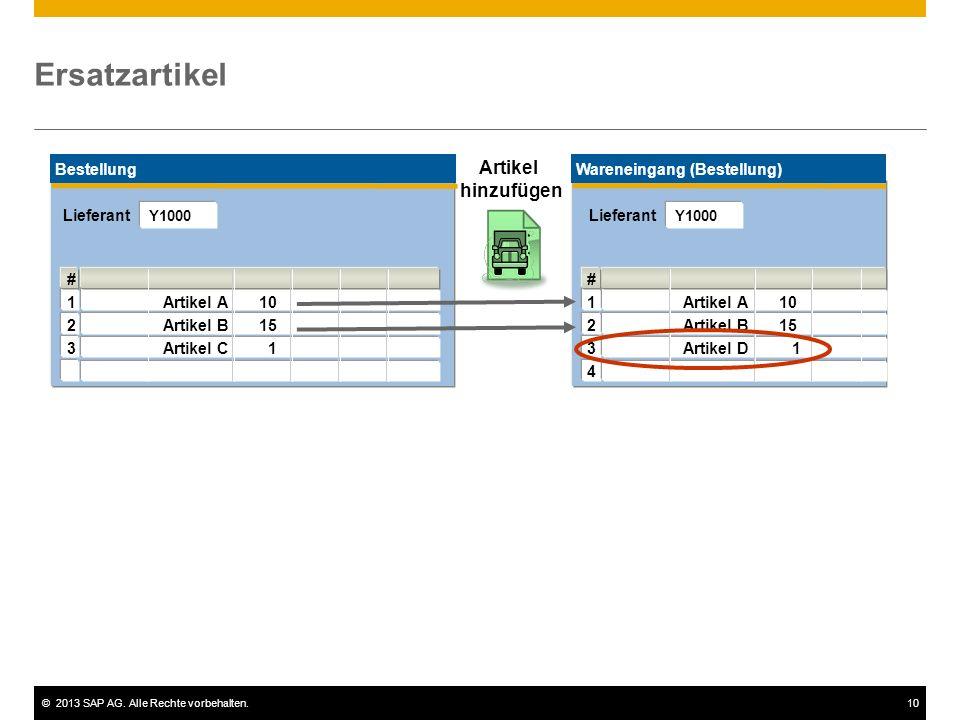 ©2013 SAP AG. Alle Rechte vorbehalten.10 Wareneingang (Bestellung) Ersatzartikel Artikel hinzufügen Bestellung # 1Artikel A10 2Artikel B15 3Artikel C