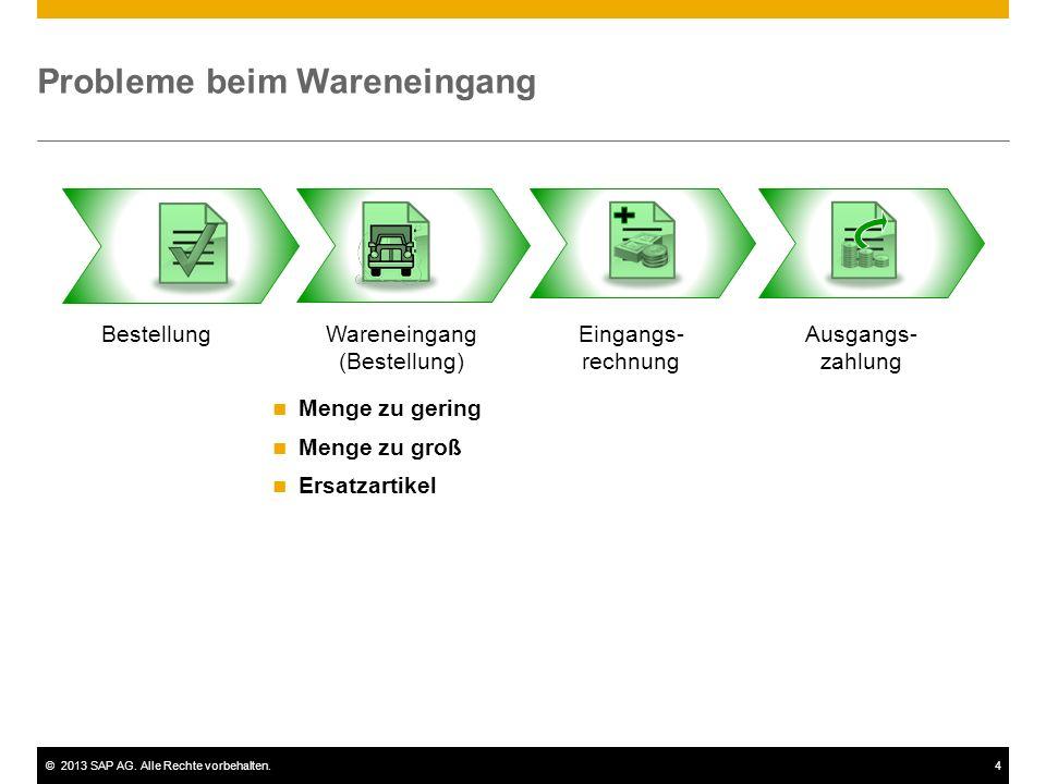 ©2013 SAP AG. Alle Rechte vorbehalten.4 Probleme beim Wareneingang BestellungWareneingang (Bestellung) Eingangs- rechnung Ausgangs- zahlung Menge zu g
