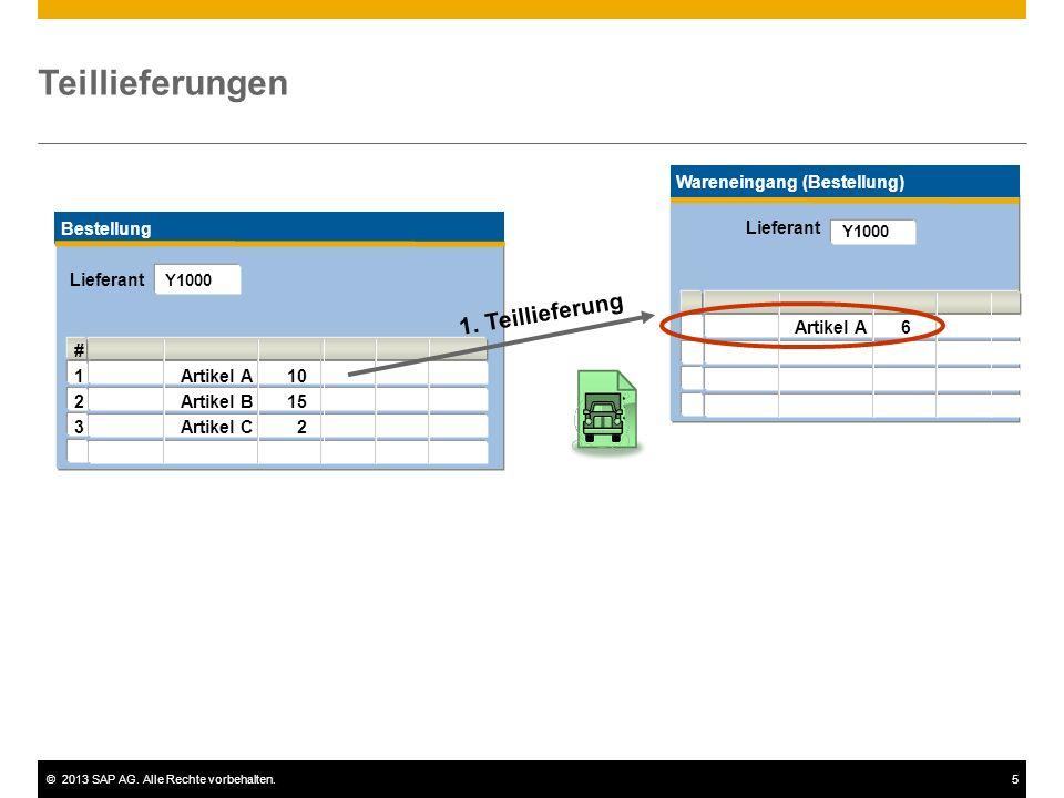 ©2013 SAP AG. Alle Rechte vorbehalten.5 Teillieferungen Bestellung # 1Artikel A10 2Artikel B15 3Artikel C 2 Lieferant Y1000 Wareneingang (Bestellung)
