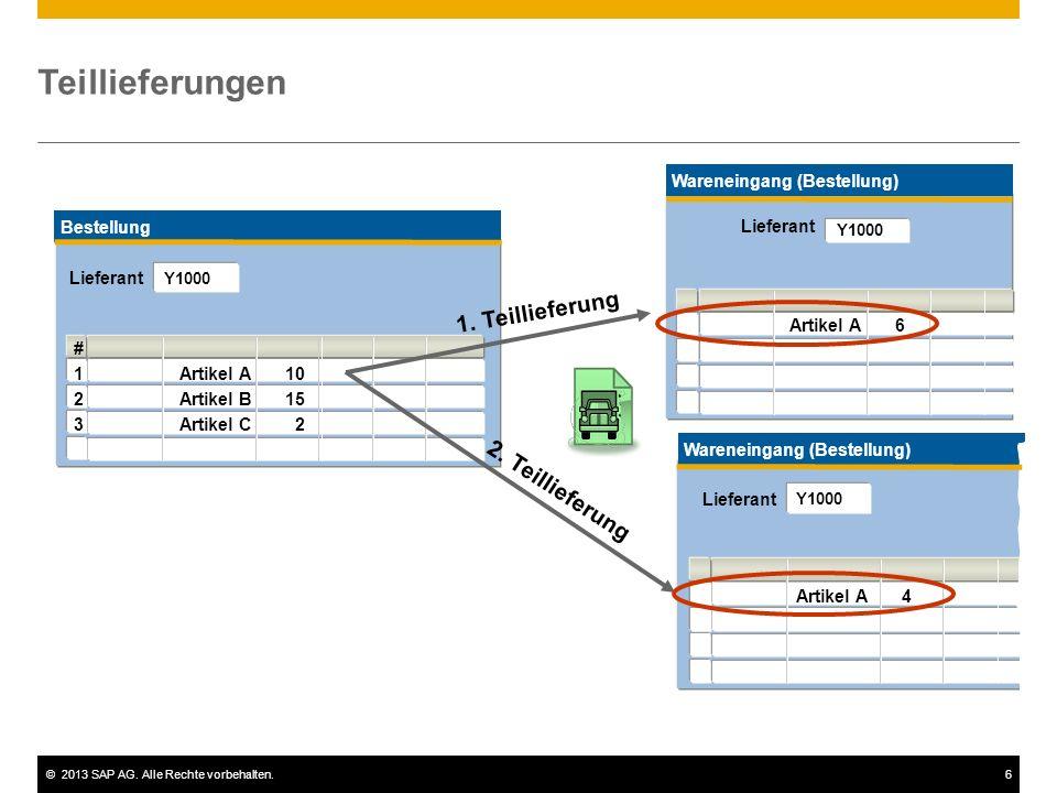 ©2013 SAP AG. Alle Rechte vorbehalten.6 Teillieferungen Wareneingang (Bestellung) # 1Artikel A6 2 3 Wareneingang (Bestellung) # 1Artikel A4 2 Lieferan