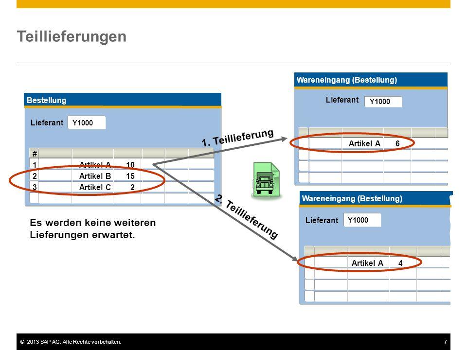 ©2013 SAP AG. Alle Rechte vorbehalten.7 Es werden keine weiteren Lieferungen erwartet. Bestellung # 1Artikel A10 2Artikel B15 3Artikel C 2 2. Teillief