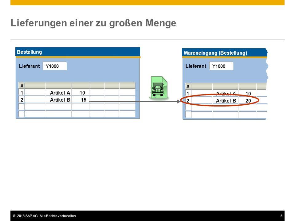 ©2013 SAP AG. Alle Rechte vorbehalten.8 Wareneingang (Bestellung) # 1Artikel A10 2Artikel B20 Lieferungen einer zu großen Menge Bestellung # 1Artikel