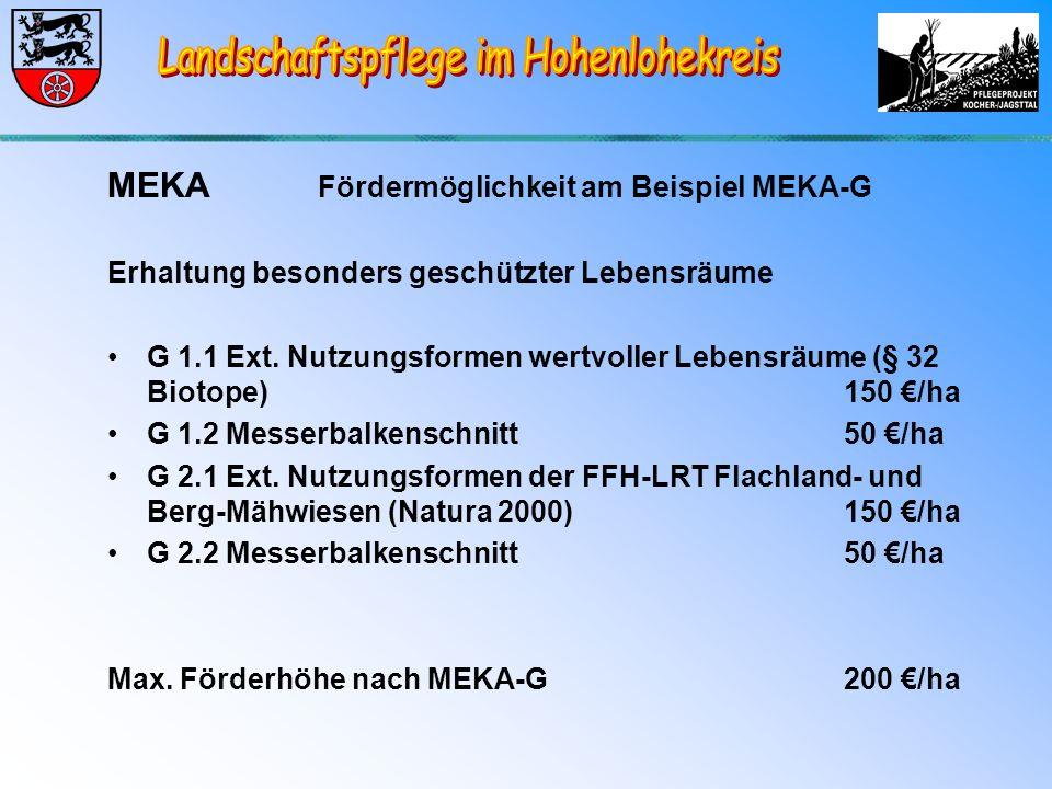 MEKA Fördermöglichkeit am Beispiel MEKA-G Erhaltung besonders geschützter Lebensräume G 1.1 Ext.