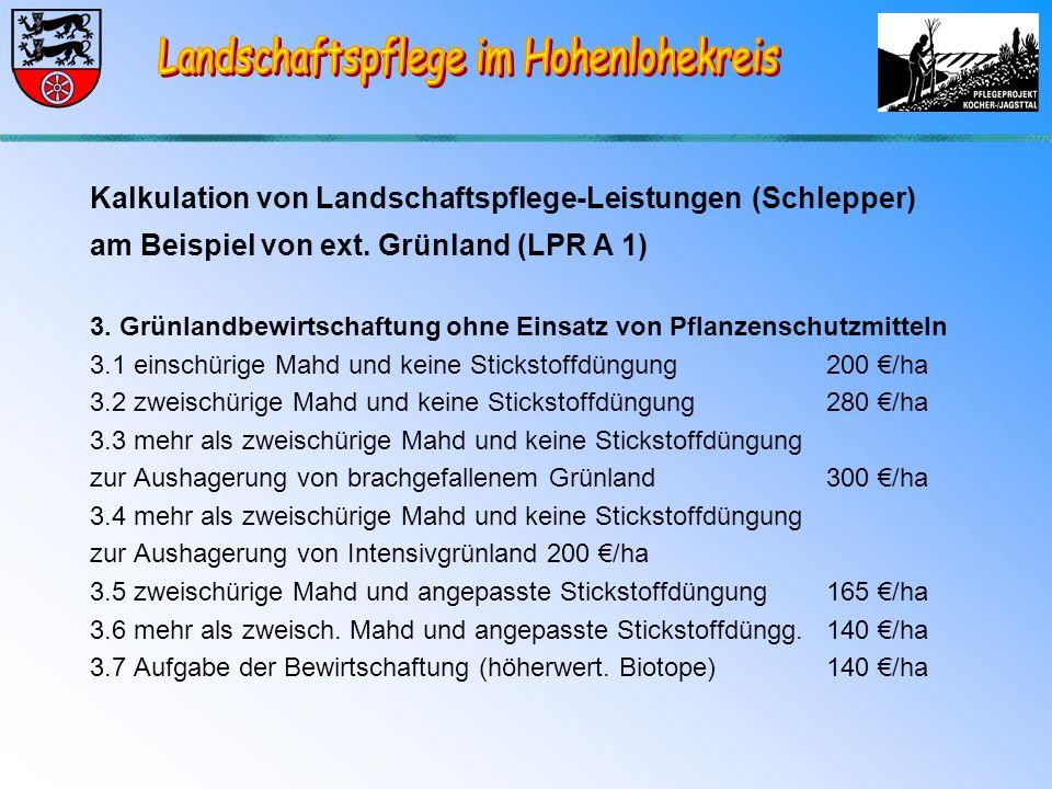 Kalkulation von Landschaftspflege-Leistungen (Schlepper) am Beispiel von ext.