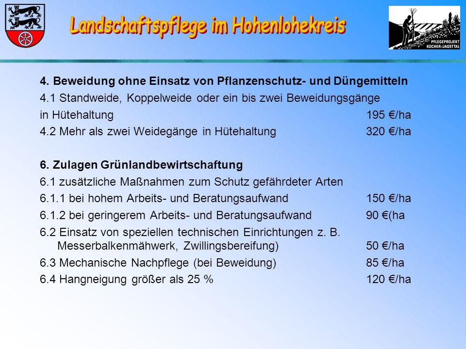 4. Beweidung ohne Einsatz von Pflanzenschutz- und Düngemitteln 4.1 Standweide, Koppelweide oder ein bis zwei Beweidungsgänge in Hütehaltung 195 €/ha 4
