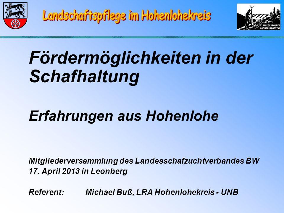 Fördermöglichkeiten in der Schafhaltung Erfahrungen aus Hohenlohe Mitgliederversammlung des Landesschafzuchtverbandes BW 17.