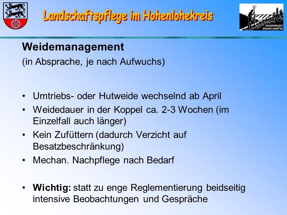 Weidemanagement (in Absprache, je nach Aufwuchs) Umtriebs- oder Hutweide wechselnd ab April Weidedauer in der Koppel ca.