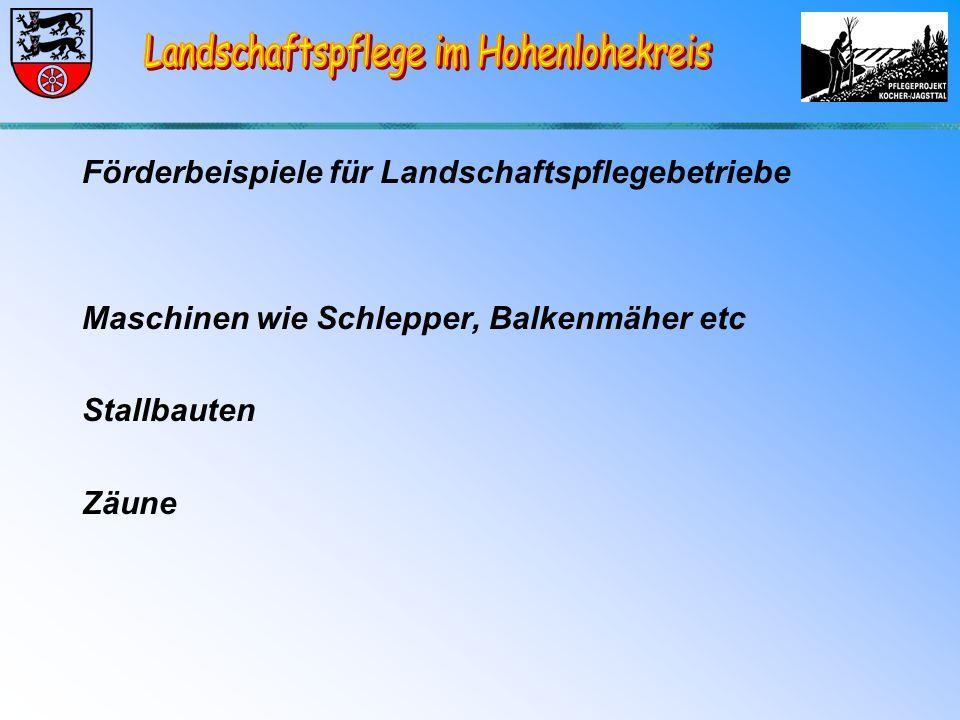 Förderbeispiele für Landschaftspflegebetriebe Maschinen wie Schlepper, Balkenmäher etc Stallbauten Zäune