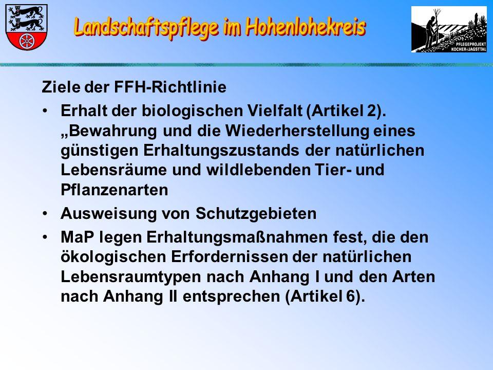 Ziele der FFH-Richtlinie Erhalt der biologischen Vielfalt (Artikel 2).