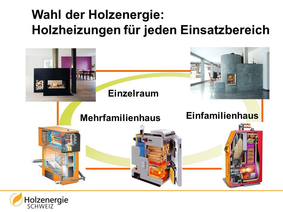 Wahl der Holzenergie: Holzheizungen für jeden Einsatzbereich Einzelraum Einfamilienhaus Mehrfamilienhaus