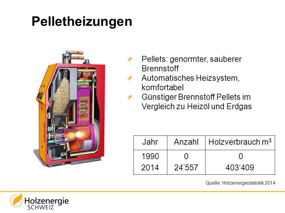 Pelletheizungen Quelle: Holzenergiestatistik 2014 Pellets: genormter, sauberer Brennstoff Automatisches Heizsystem, komfortabel Günstiger Brennstoff P