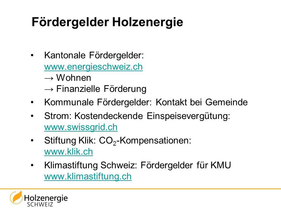 Fördergelder Holzenergie Kantonale Fördergelder: www.energieschweiz.ch → Wohnen → Finanzielle Förderung www.energieschweiz.ch Kommunale Fördergelder: