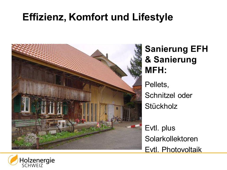 Effizienz, Komfort und Lifestyle Sanierung EFH & Sanierung MFH: Pellets, Schnitzel oder Stückholz Evtl. plus Solarkollektoren Evtl. Photovoltaik