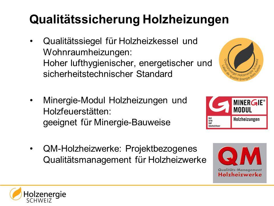 Qualitätssicherung Holzheizungen Qualitätssiegel für Holzheizkessel und Wohnraumheizungen: Hoher lufthygienischer, energetischer und sicherheitstechni