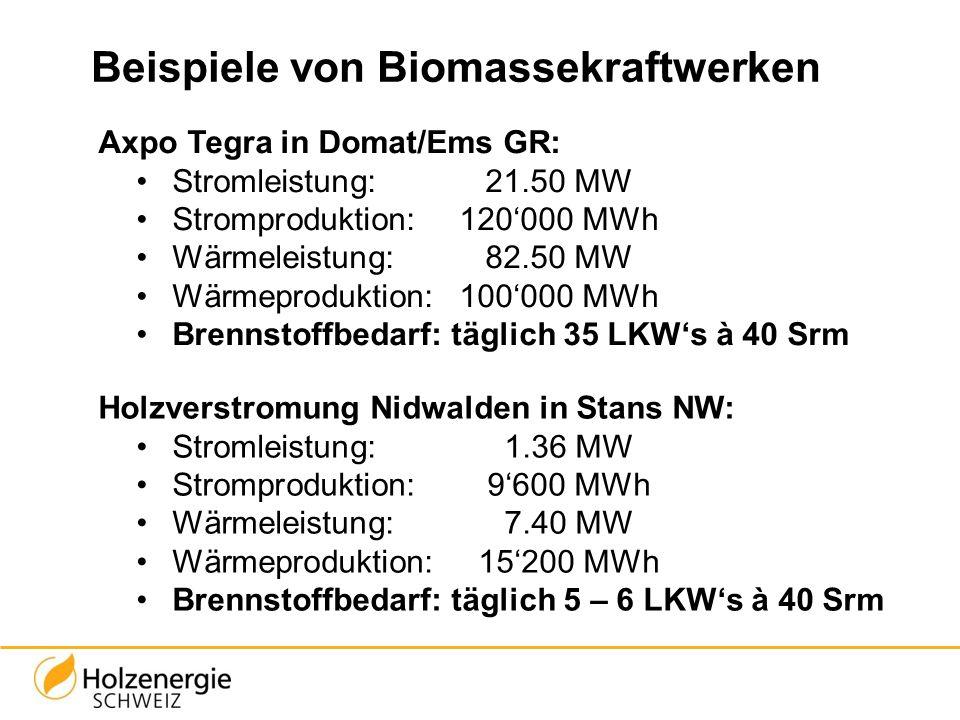 Beispiele von Biomassekraftwerken Axpo Tegra in Domat/Ems GR: Stromleistung: 21.50 MW Stromproduktion:120'000 MWh Wärmeleistung:82.50 MW Wärmeprodukti