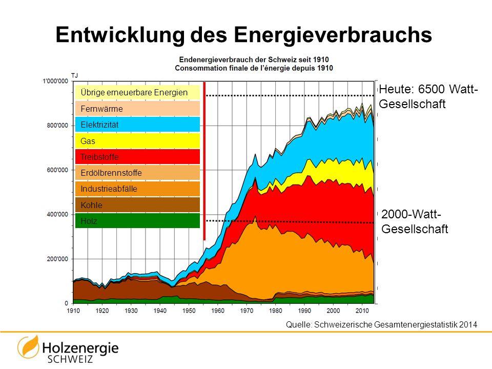 Entwicklung des Energieverbrauchs Quelle: Schweizerische Gesamtenergiestatistik 2014 Übrige erneuerbare Energien Fernwärme Elektrizität Gas Treibstoff