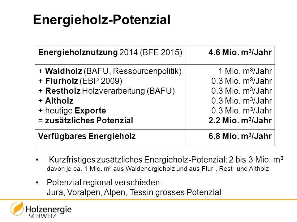 Energieholz-Potenzial Kurzfristiges zusätzliches Energieholz-Potenzial: 2 bis 3 Mio. m 3 davon je ca. 1 Mio. m 3 aus Waldenergieholz und aus Flur-, Re