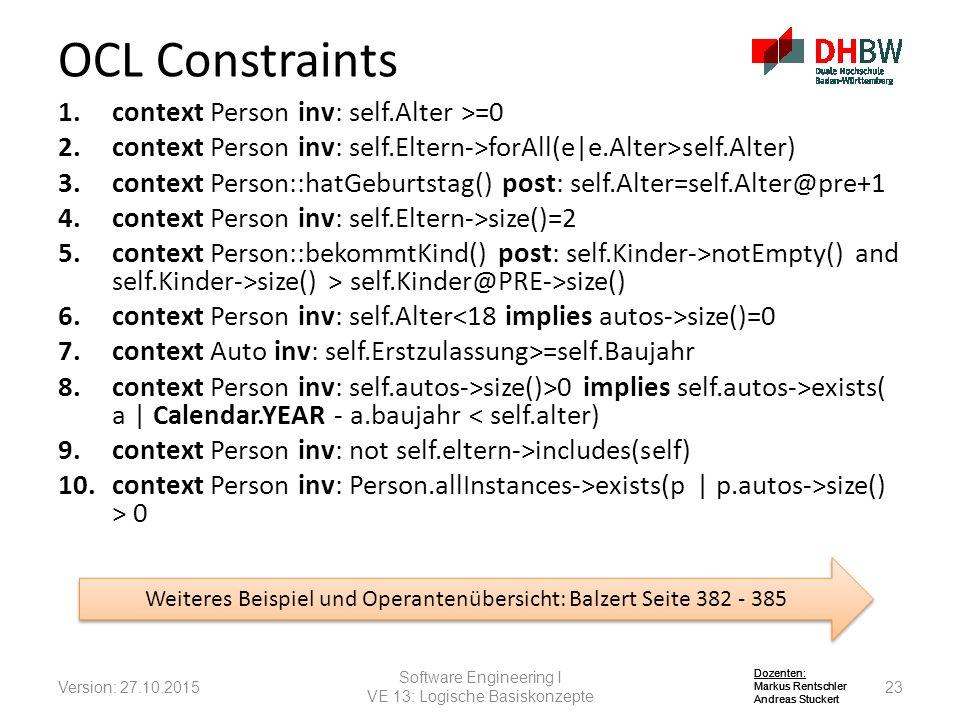 Dozenten: Markus Rentschler Andreas Stuckert Dozenten: Markus Rentschler Andreas Stuckert Dozenten: Markus Rentschler Andreas Stuckert 1.context Person inv: self.Alter >=0 2.context Person inv: self.Eltern->forAll(e|e.Alter>self.Alter) 3.context Person::hatGeburtstag() post: self.Alter=self.Alter@pre+1 4.context Person inv: self.Eltern->size()=2 5.context Person::bekommtKind() post: self.Kinder->notEmpty() and self.Kinder->size() > self.Kinder@PRE->size() 6.context Person inv: self.Alter size()=0 7.context Auto inv: self.Erstzulassung>=self.Baujahr 8.context Person inv: self.autos->size()>0 implies self.autos->exists( a | Calendar.YEAR - a.baujahr < self.alter) 9.context Person inv: not self.eltern->includes(self) 10.context Person inv: Person.allInstances->exists(p | p.autos->size() > 0 OCL Constraints Version: 27.10.201523 Software Engineering I VE 13: Logische Basiskonzepte Weiteres Beispiel und Operantenübersicht: Balzert Seite 382 - 385