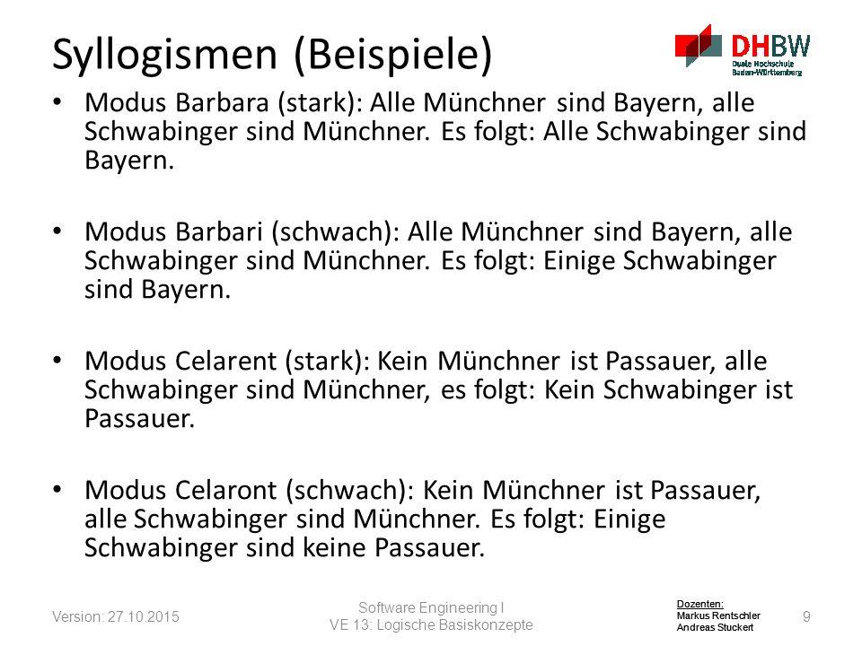 Dozenten: Markus Rentschler Andreas Stuckert Dozenten: Markus Rentschler Andreas Stuckert Dozenten: Markus Rentschler Andreas Stuckert Modus Barbara (stark): Alle Münchner sind Bayern, alle Schwabinger sind Münchner.