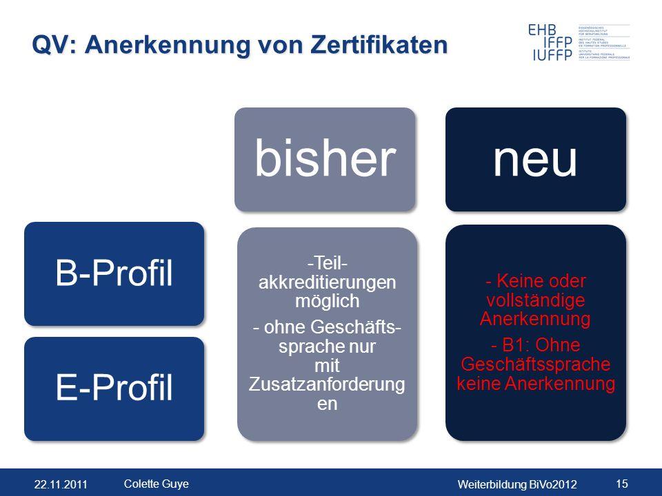 22.11.2011Weiterbildung BiVo2012 15 Colette Guye QV: Anerkennung von Zertifikaten B-ProfilE-Profil bisher -Teil- akkreditierungen möglich - ohne Gesch