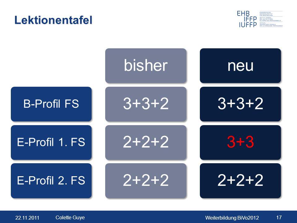 22.11.2011Weiterbildung BiVo2012 17 Colette Guye Lektionentafel B-Profil FSE-Profil 1. FSE-Profil 2. FS bisher3+3+22+2+2 neu3+3+23+32+2+2