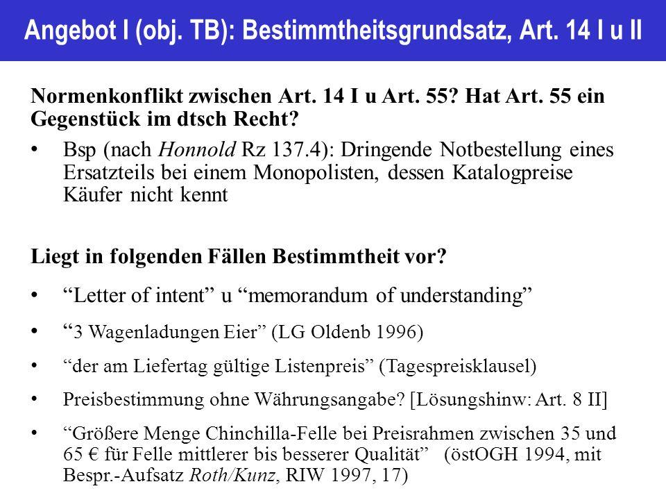 Angebot I (obj. TB): Bestimmtheitsgrundsatz, Art.