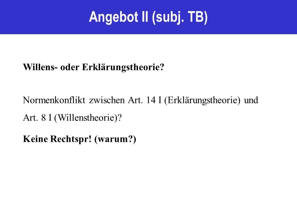 Angebot II (subj. TB) Willens- oder Erklärungstheorie.