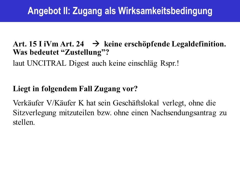 Angebot II: Zugang als Wirksamkeitsbedingung Art. 15 I iVm Art.