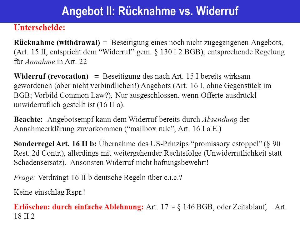 Angebot II: Rücknahme vs.