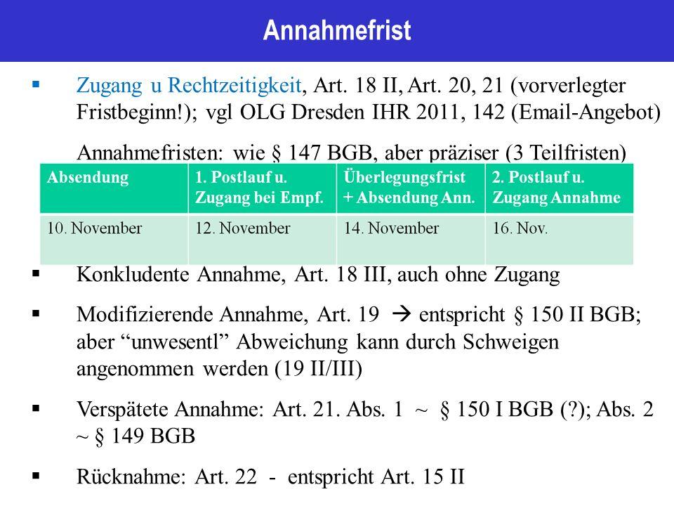 Annahmefrist  Zugang u Rechtzeitigkeit, Art. 18 II, Art.