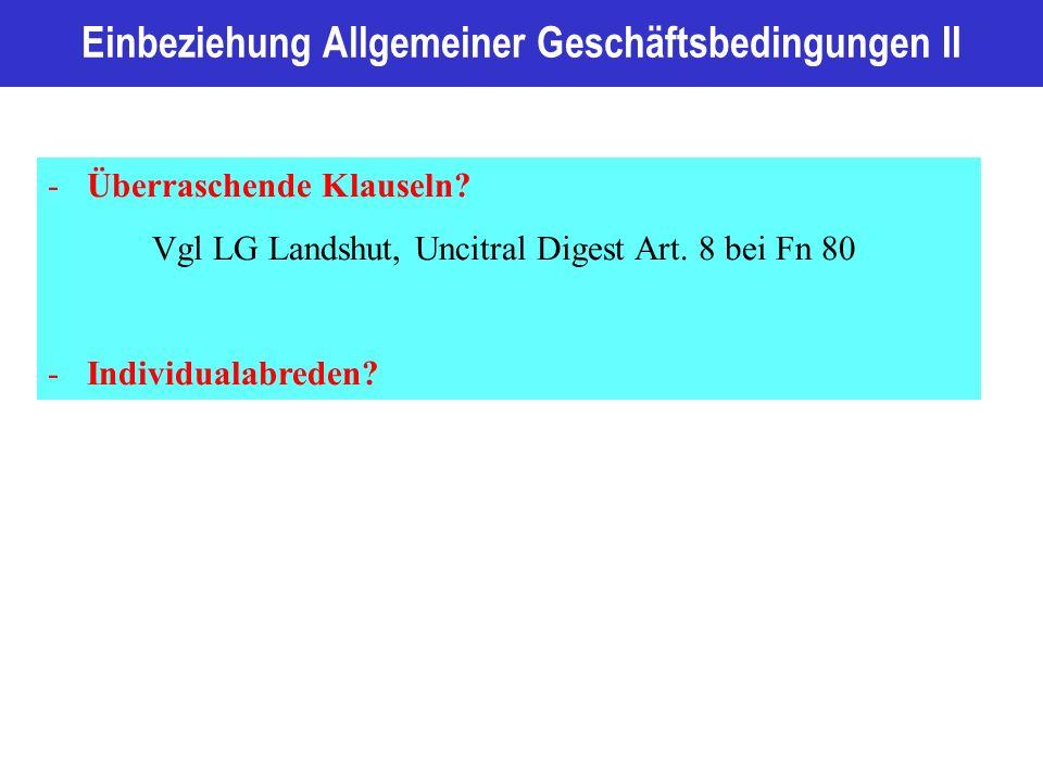 Einbeziehung Allgemeiner Geschäftsbedingungen II -Überraschende Klauseln.