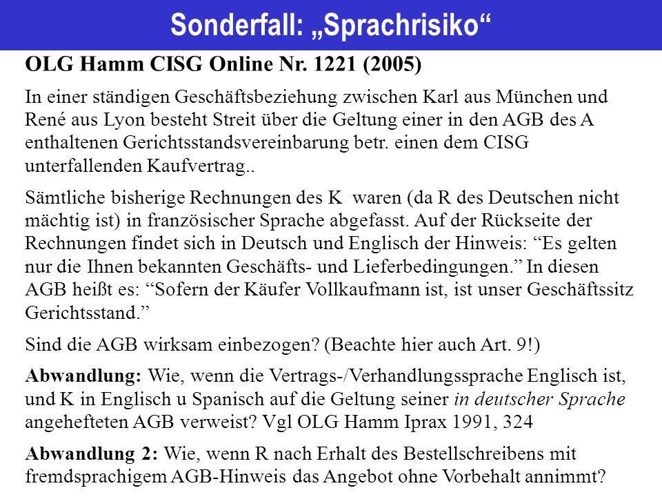 "Sonderfall: ""Sprachrisiko OLG Hamm CISG Online Nr."