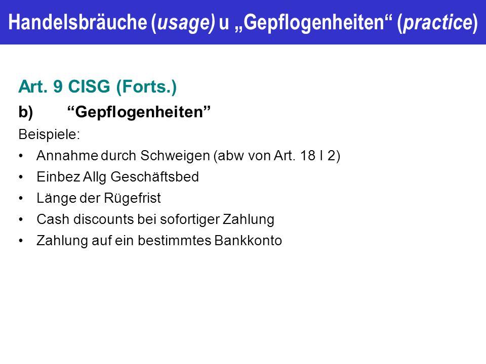 """Handelsbräuche ( usage) u """"Gepflogenheiten ( practice ) Art."""