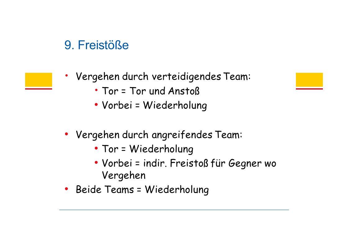 9. Freistöße Vergehen durch verteidigendes Team: Tor = Tor und Anstoß Vorbei = Wiederholung Vergehen durch angreifendes Team: Tor = Wiederholung Vorbe