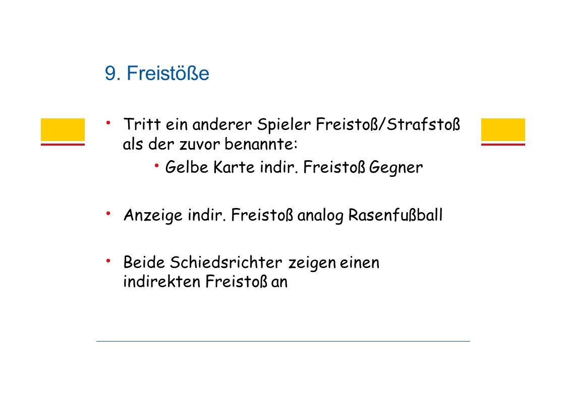 9. Freistöße Tritt ein anderer Spieler Freistoß/Strafstoß als der zuvor benannte: Gelbe Karte indir. Freistoß Gegner Anzeige indir. Freistoß analog Ra