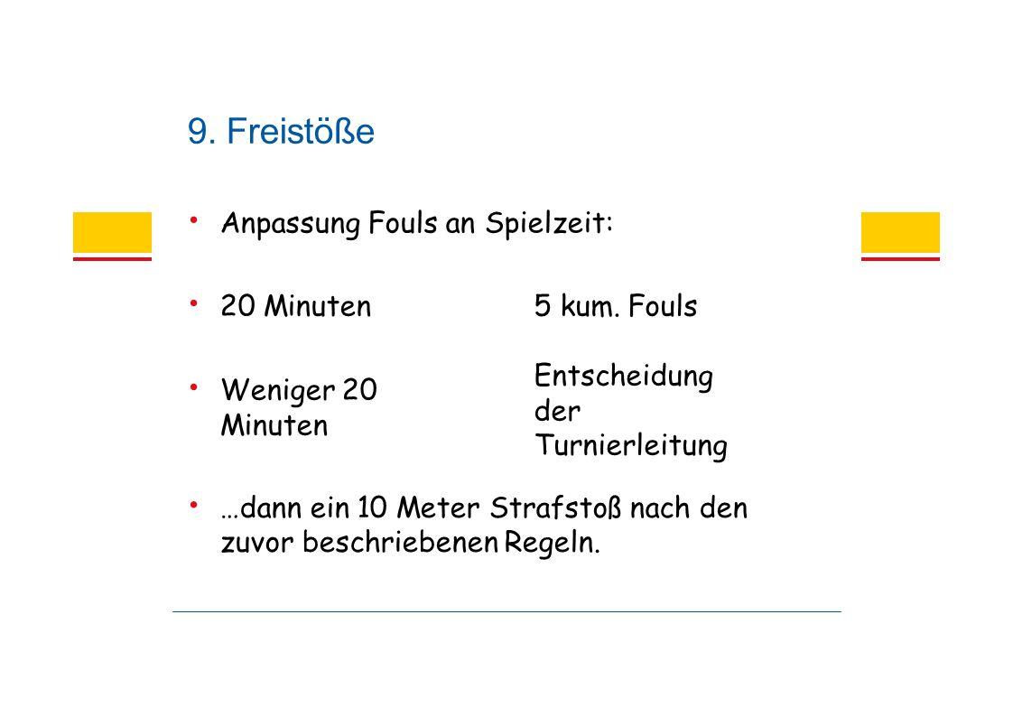 9. Freistöße Anpassung Fouls an Spielzeit: 5 kum.