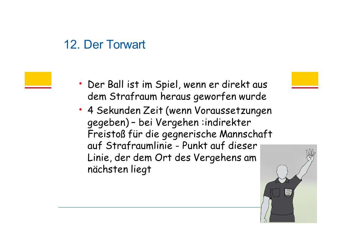12. Der Torwart Der Ball ist im Spiel, wenn er direkt aus dem Strafraum heraus geworfen wurde 4 Sekunden Zeit (wenn Voraussetzungen gegeben) – bei Ver