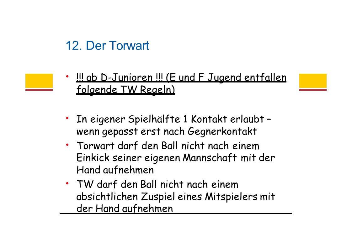 12. Der Torwart !!. ab D-Junioren !!.