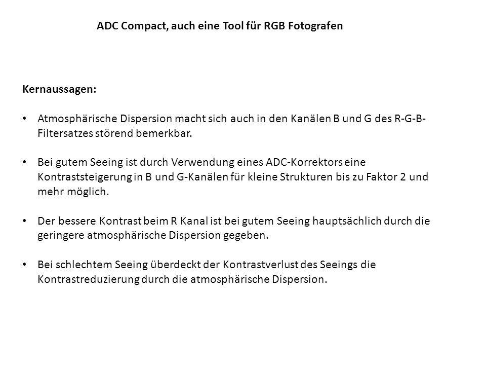 ADC Compact, auch eine Tool für RGB Fotografen Die Abbildung zeigt für einen Schmidt- Cassegrain 280/F10 die Kontrastwerte für den B-Kanal (450nm), G-Kanal (530nm) und R-Kanal (645nm).