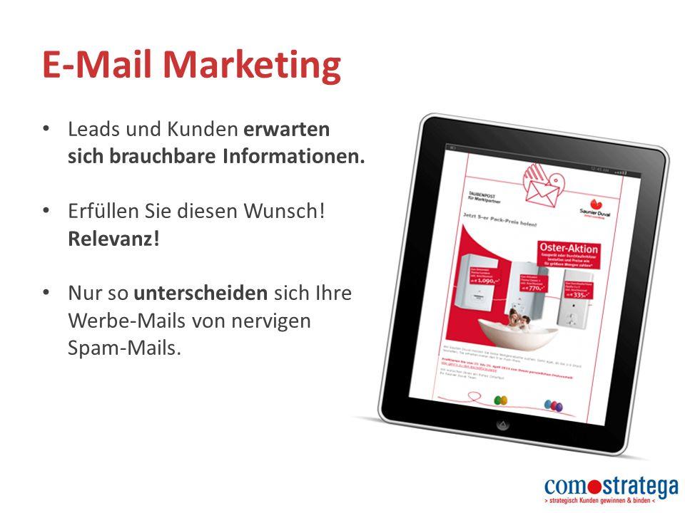 E-Mail Marketing Leads und Kunden erwarten sich brauchbare Informationen.