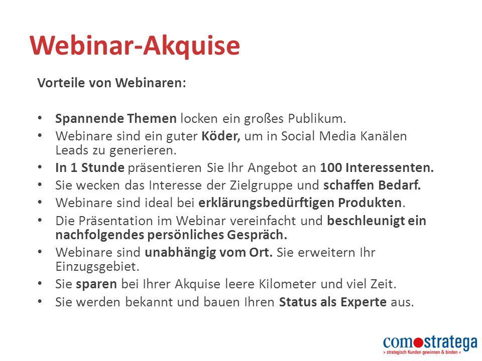 Webinar-Akquise Vorteile von Webinaren: Spannende Themen locken ein großes Publikum.