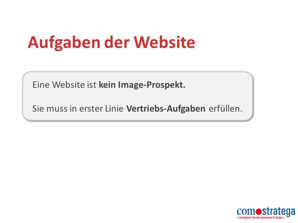 Aufgaben der Website Eine Website ist kein Image-Prospekt.