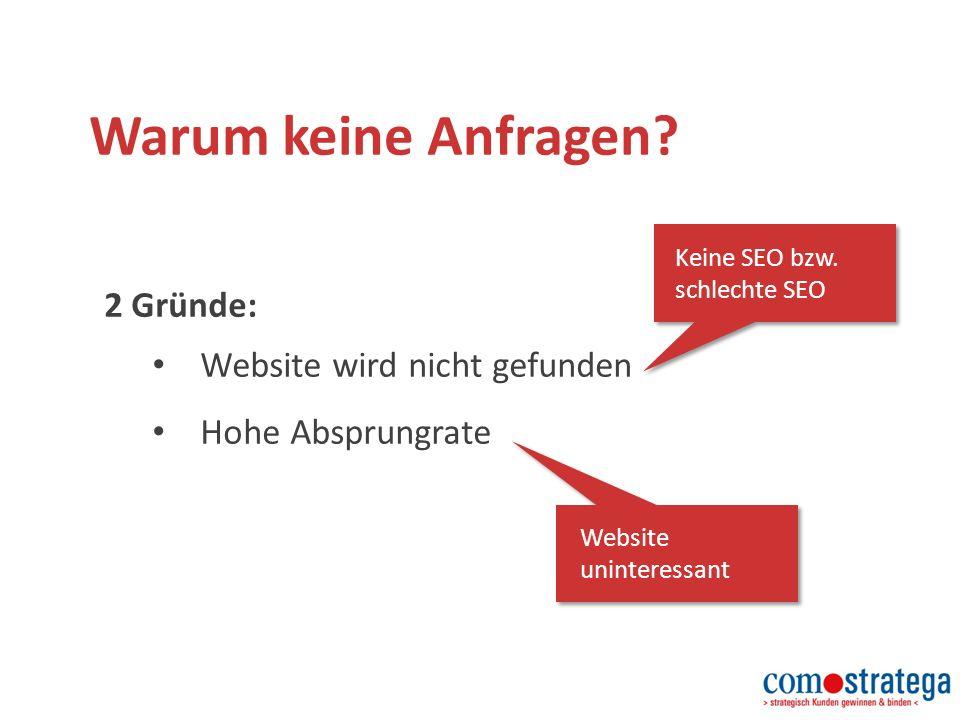 Warum keine Anfragen. 2 Gründe: Website wird nicht gefunden Hohe Absprungrate Keine SEO bzw.