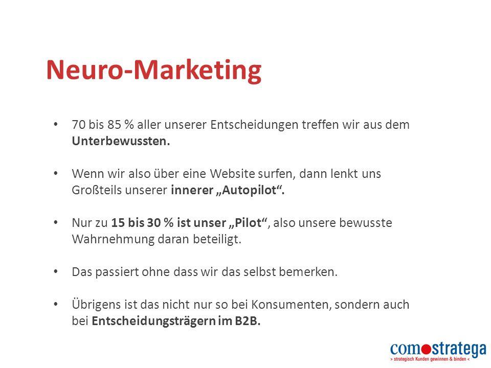 Neuro-Marketing 70 bis 85 % aller unserer Entscheidungen treffen wir aus dem Unterbewussten.