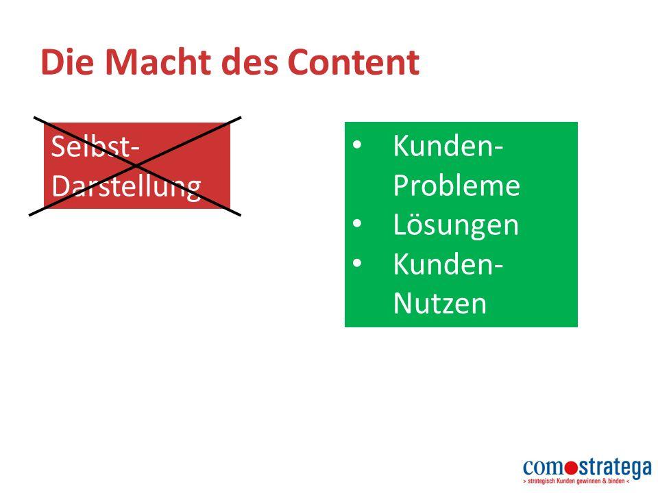 Die Macht des Content Selbst- Darstellung Kunden- Probleme Lösungen Kunden- Nutzen